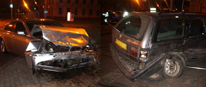 ГАИ: в центре Минска пьяный водитель BMW врезался в такси. Погиб пассажир
