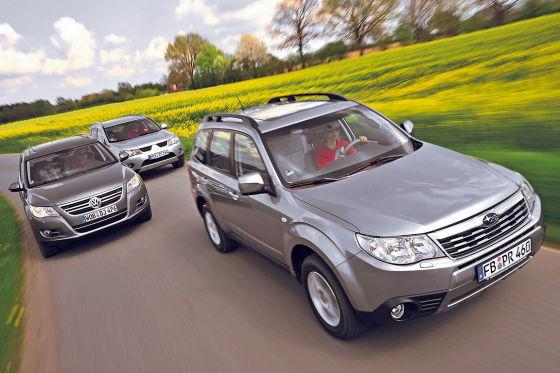 Volkswagen Tiguan, Mitsubishi Outlander и Subaru Forester