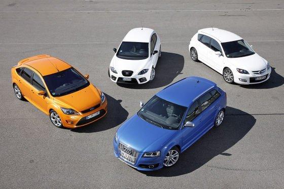 Сравнительный тест Seat Leon Cupra, Audi S3 Sportback, Ford Focus ST и Mazda3 MPS.