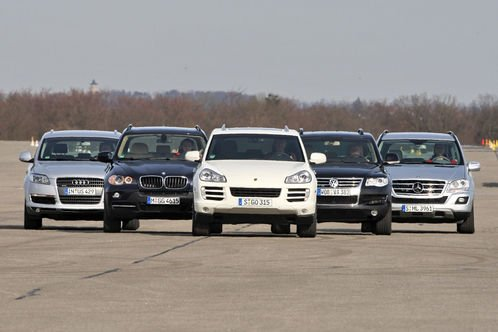 Сравнительный тест автомобилей Porsche Cayenne, Audi Q7, BMW X5, Mercedes ML и VW Touareg