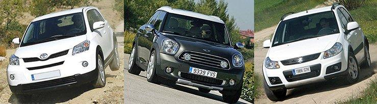 Сравнительный тест автомобилей Mini Countryman, Suzuki SX4 и Toyota Urban Cruiser.