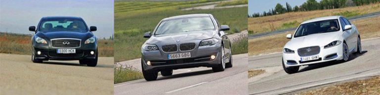 Сравнительный тест автомобилей Infiniti M, Jaguar XF и BMW 5-серии.