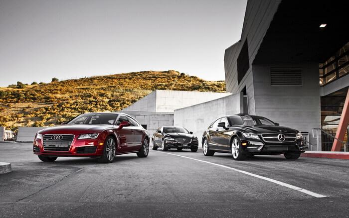 Jaguar XJ vs Audi A7 И Mercedez-Benz CLS: большая кошка против тевтонцев