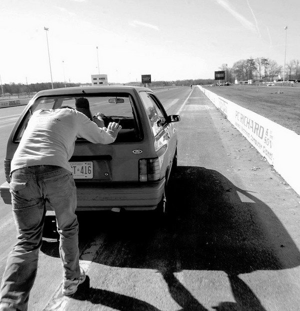 дистанция, толкать автомобиль