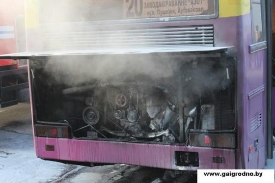 В Гродно загорелся автобус