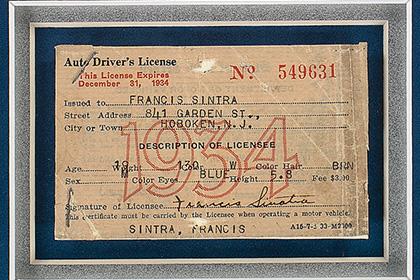 водительские права Фрэнка Синатры