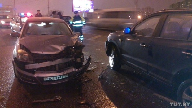 авария, Минск, Hyundai Santa Fe и Opel Astra
