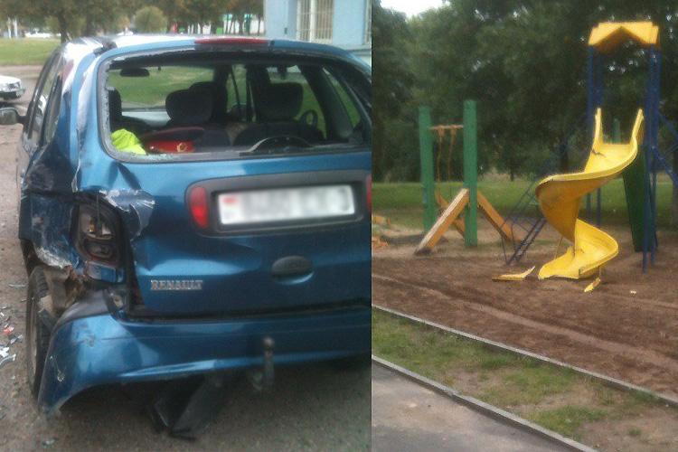В Гомеле МАЗ без водителя прокатился по детской площадке и зацепил две машины