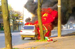 В Минске во время движения загорелся Volkswagen