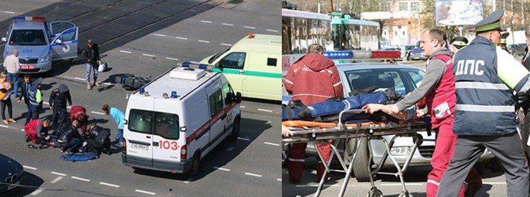 В Минске мотоциклист сбил инспектора ГАИ