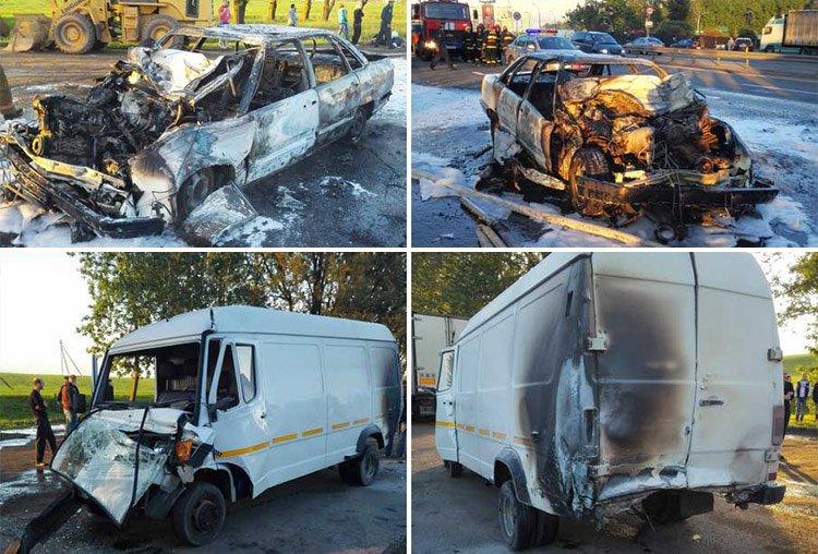 В результате ДТП под Минском сгорел автомобиль