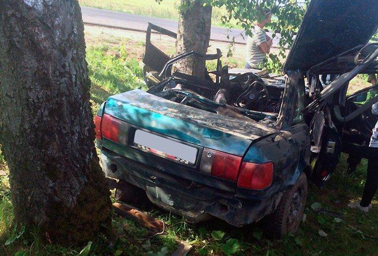 Под НовогрудкомAudi с компанией молодежи врезалась в дерево