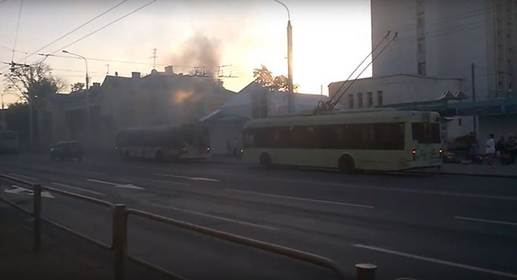 В Гомеле загорелся троллейбус