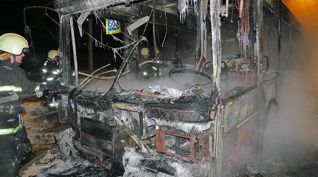 В Минске сгорел городской пассажирский автобус
