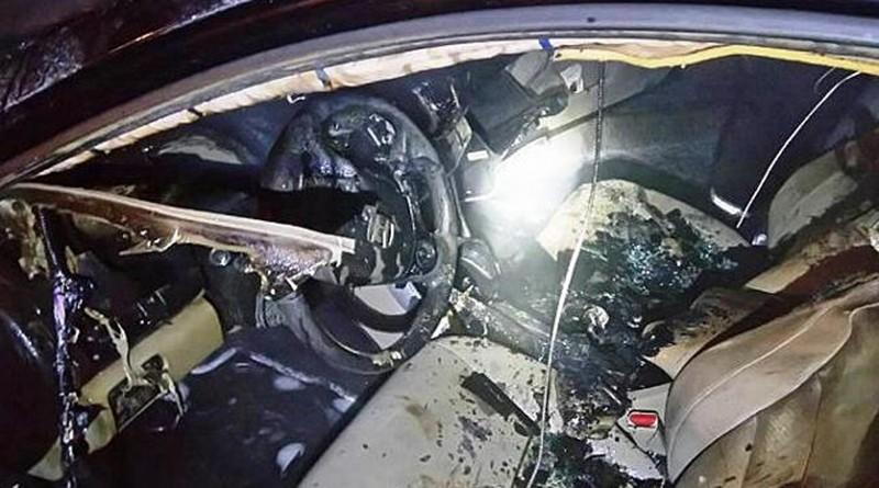 Ночной пожар в Минске. Горел автомобиль «Хонда»