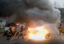 В Минске во время движения загорелся автомобиль.
