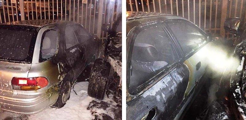 Ночной пожар в Минске. Сгорел БМВ Х5
