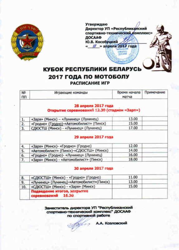 Кубок Республики Беларусь по мотоболу 2017 года
