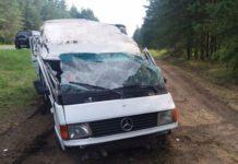 Под Гродно перевернулся микроавтобус с пассажирами