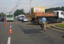 В Минске столкнулись троллейбус и грузовик