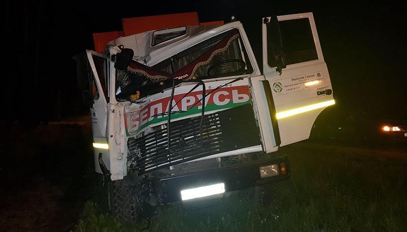 Пьяный водитель мусоровоза врезался в осветительную мачту