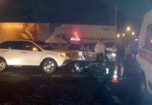 В Минске столкнулись мотоцикл и легковой автомобиль «Акура»