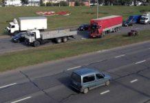 В Минске столкнулись 4 грузовика
