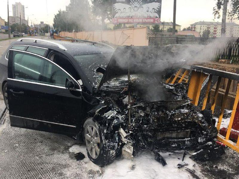 В Минске во время погони бесправник врезался в автомобиль милиции
