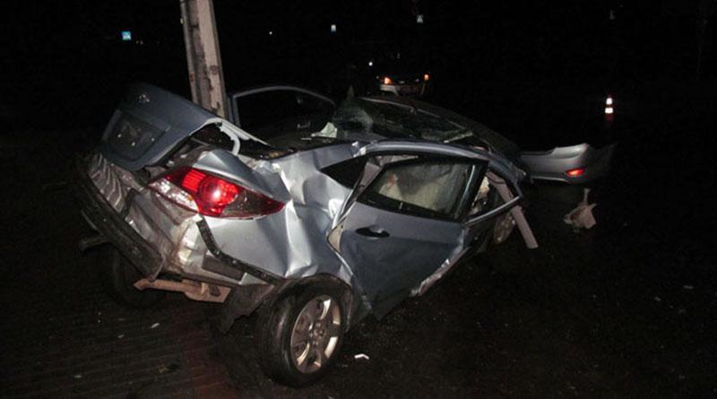В Борисове автомобиль «Хундай» врезался в столб