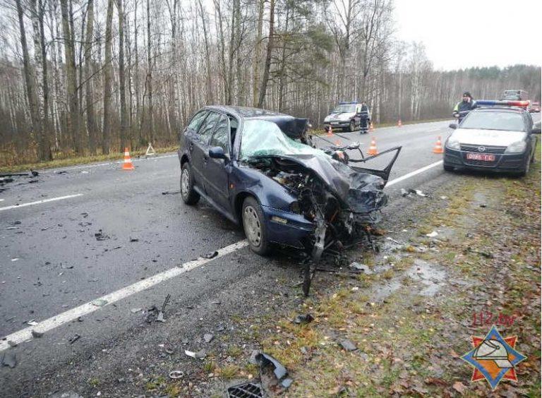 лоб в лоб столкнулись грузовой автомобиль Renault Premium и легковой Skoda Octavia