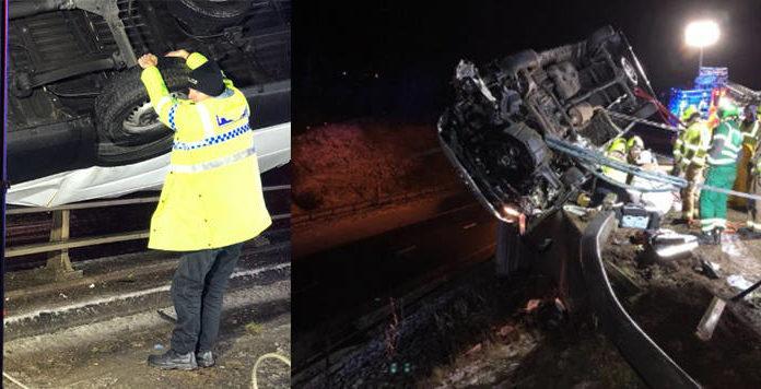 Английский полицейский 15 минут удерживал падающий с моста фургон