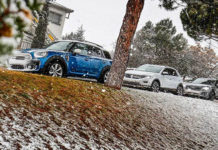 Сравнительный тест автомобилей Audi Q2 Quattro, Mini Countryman ALL4 и Volkswagen T-Roc 4Motion.