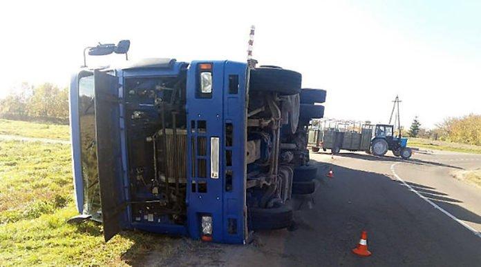В Молодечненском районе опрокинулся грузовик со свиньями