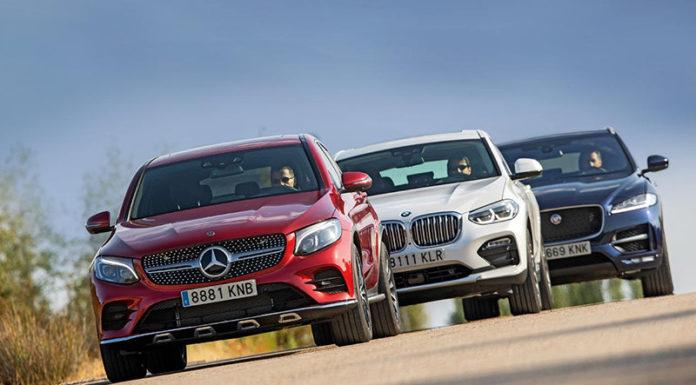 Сравнительный тест автомобилейBMW X4, Jaguar F-Pace и Mercedes GLC Coupе