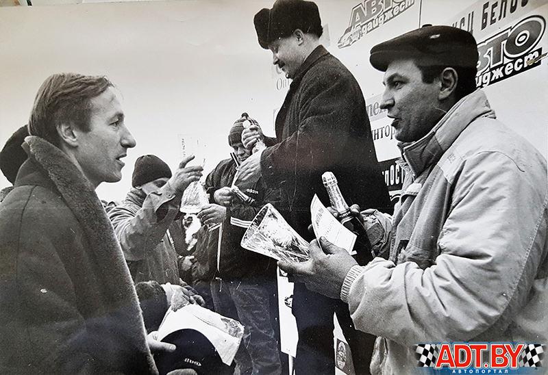 Горячий лед 1999 года. Я ( слева) волновался накануне гонки и почти не спал....