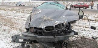 BMW вылетел в кювет и перевернулся