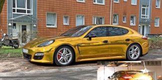 """Полиция Гамбурга отправила """"золотой"""" Porsche Panamera на штрафстоянку"""