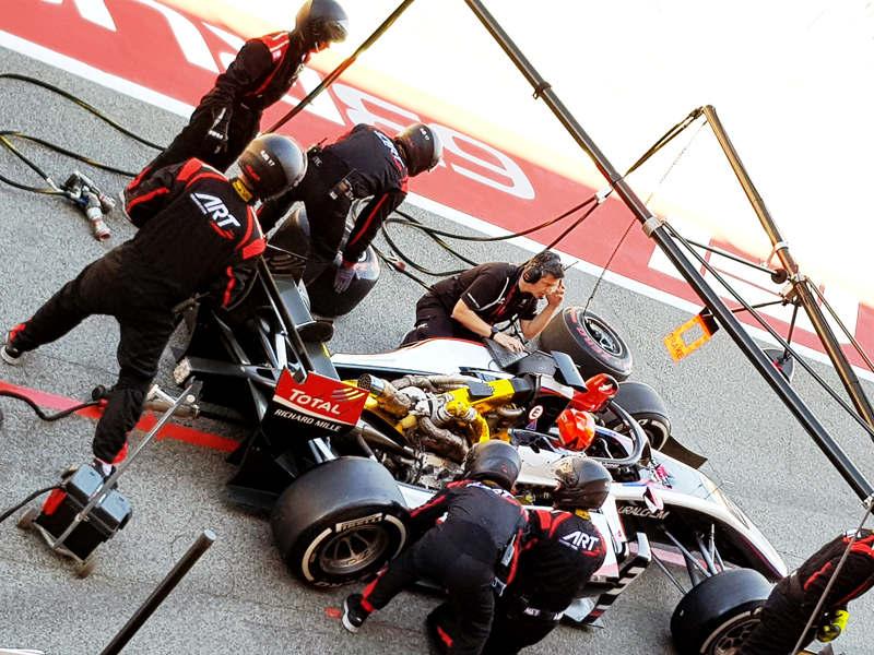 Никита Мазепин, «Формула-2»: Ремонт болида во время гонки