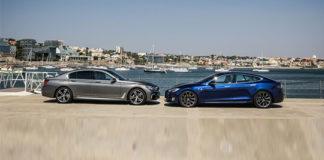 Сравнительный тест автомобилейBMW 7 и Tesla Model S.