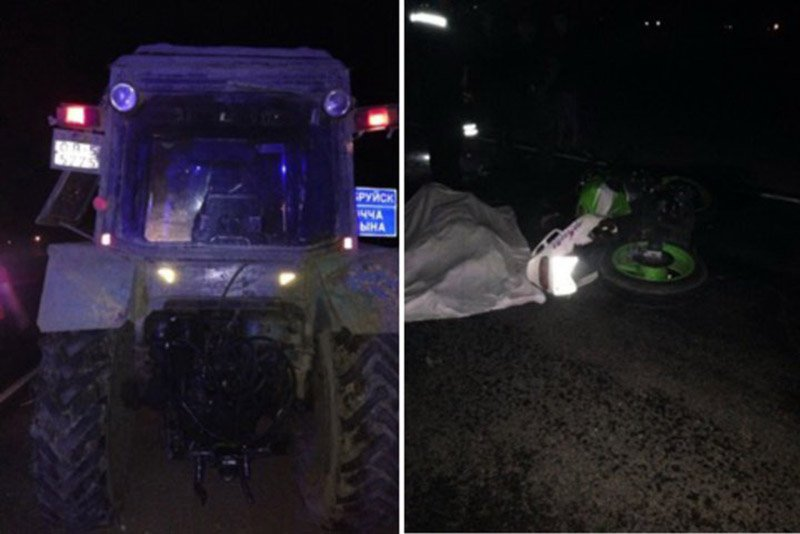 Мотоциклист врезался в трактор и погиб