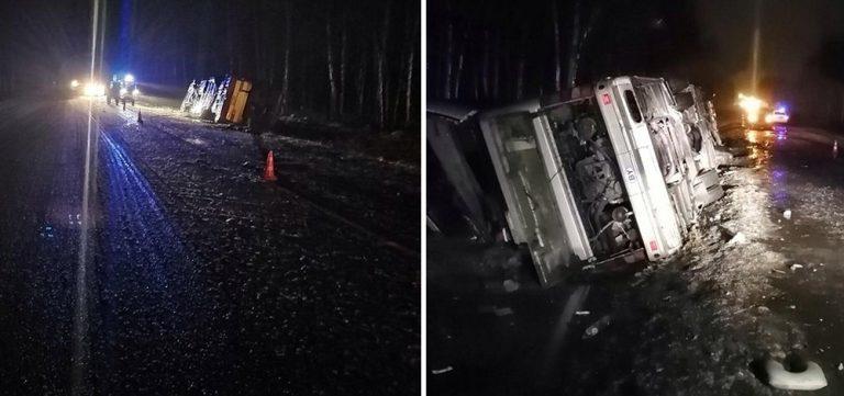 Автобус с белорусами опрокинулся в Псковской области