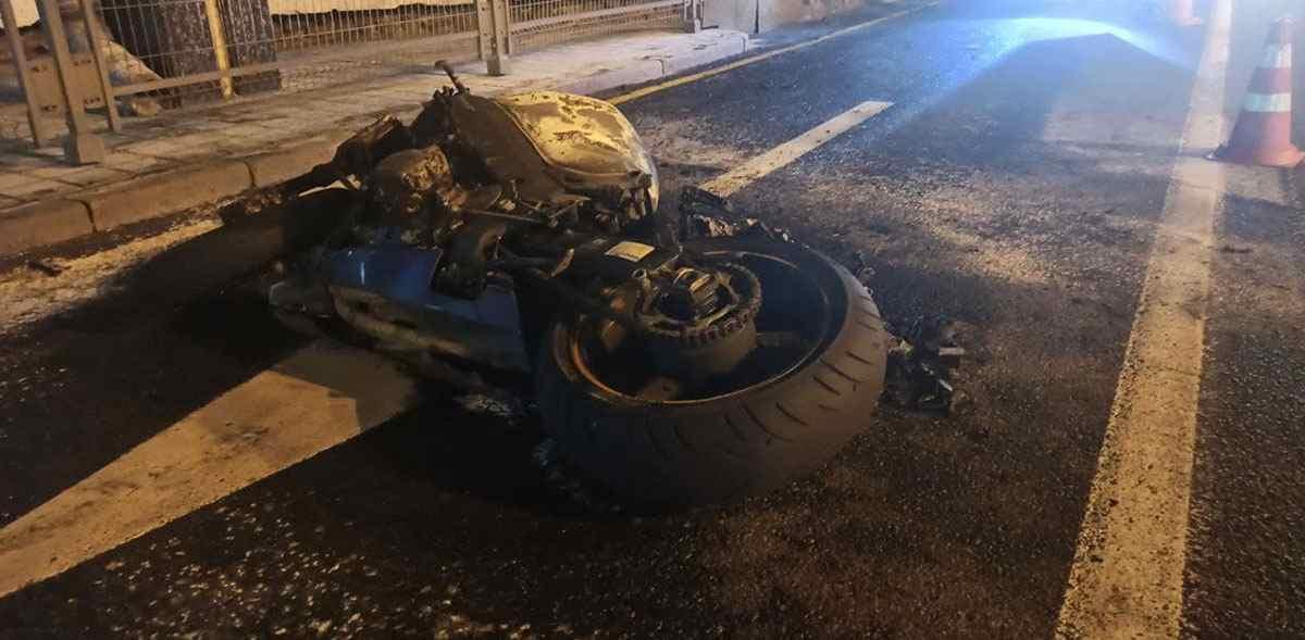В Минске загорелся мотоцикл