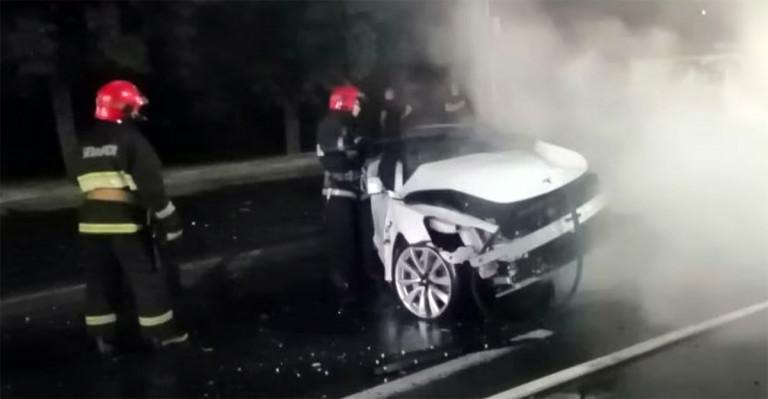 в Могилеве загорелcя Tesla