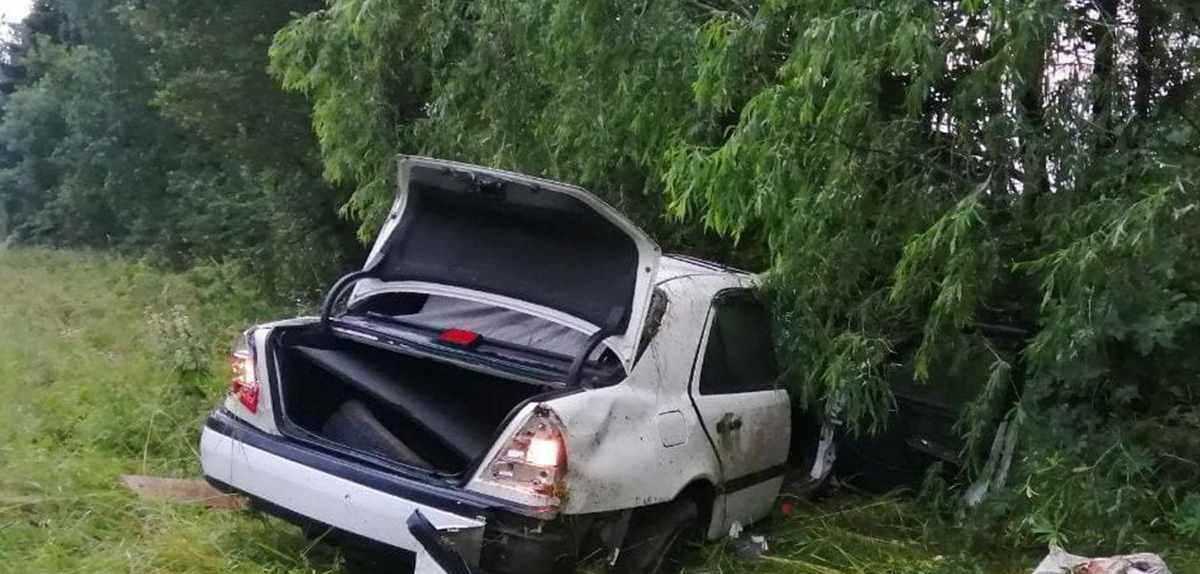 водитель Mercedes съехал в кювет и опрокинулся