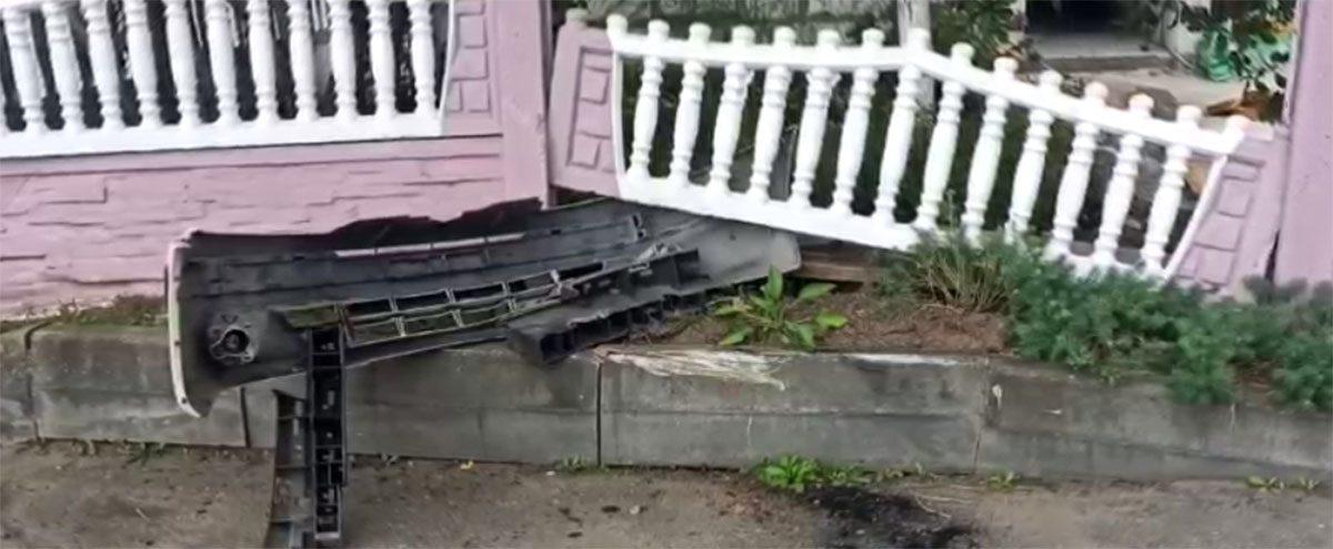 пьяный водитель сломал забор в Несвиже